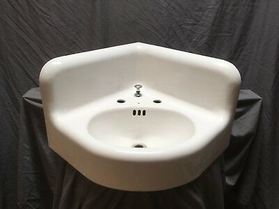 Large Antique Cast Iron White Porcelain Corner Sink Vtg Bath Kohler Old 598-18E