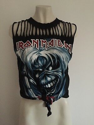 Camiseta Customizada Iron Maiden Vintage Para Mujer The Number Of The Beast