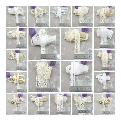"""WHITE CREAM COTTON LACE TRIMMING /""""60 TYPES/"""" SEW ON EMBROIDERY SEWING UK SELLER"""