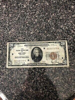 Series Of 1929 National Currency $20 Bill- Federal Reserve Bank Of New York