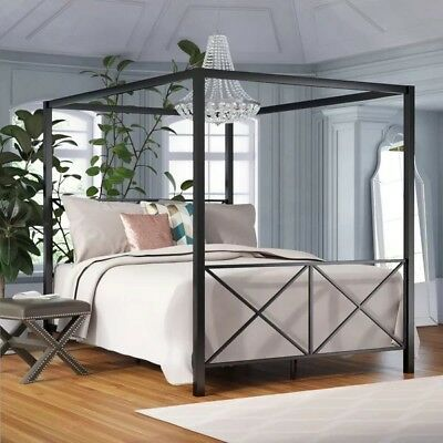 Dhp Canopy Metal Bed Frame Twin Size White 130 66 Picclick