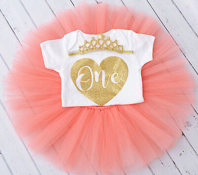 Girls 1st First Birthday Outfit Tutu Skirt Cake Smash Outfit  Set Blush Tiara