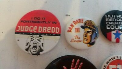 2000AD Judge Dredd Megazine Dan Dare Crisis comic badges