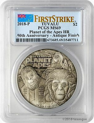 2018-P $2 Tuvalu 50 Years Planet of the Apes 2oz HR 9999 Silver PCGS MS69 FS
