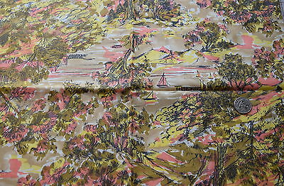 1  yd 1950's cotton fabric, fall lakeside scene, tan, pink, yellow