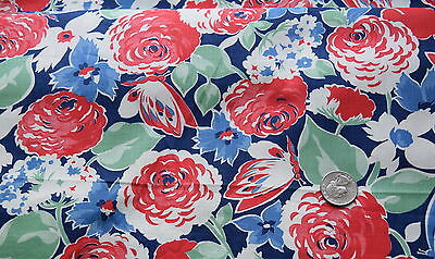 1 yd 1940's cotton fabric, large scale blue/red floral, butterflies