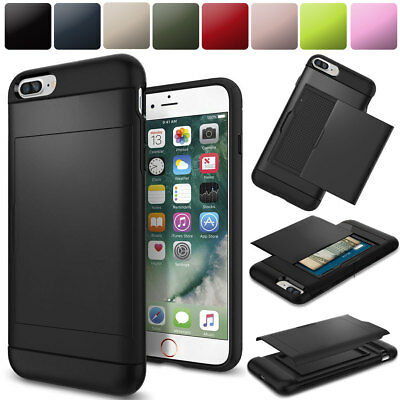Shockproof Hybrid Credit Card Holder Hard Case Cover For iPhone 6 6s 7 8 Plus X