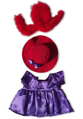 "Red Hat Purple Dress Outfit Teddy Bear Clothes Fits Most 14"" - 18"" Build-a-bear,"