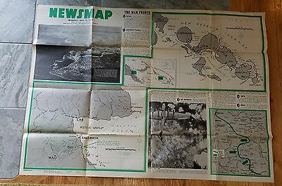 2 sided Poster World War ll News Map Week July 12, 1943 In decent Condition.