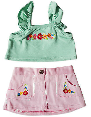 "Green Top and Pink Skirt Outfit Teddy Bear Clothes Fits Most 14"" - 18"" Build-a-b"