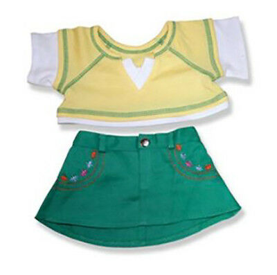 "Yellow Top Green Skirt Outfit Teddy Bear Clothes Fits Most Most 14"" - 18"" Build-"