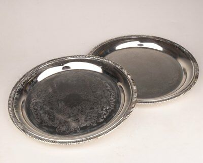 2 High - Grade Tray Plated With Silver Decorated With Beautiful Dark Flowers