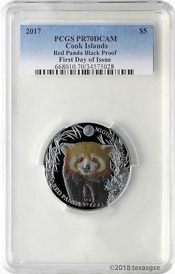2017 $5 Cook Islands Red Panda .999 Silver Black Proof Coin PCGS PR70DCAM FD