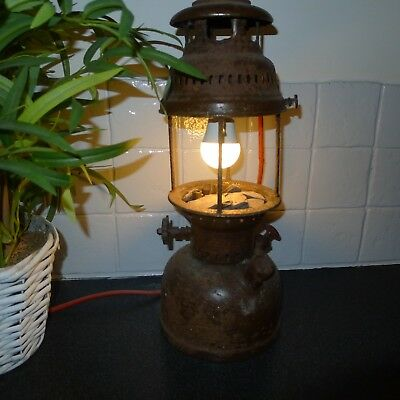 Light Vintage Rusty Oil Lamp Converted to Electric rewired and working