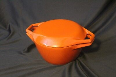 Vintage Copco Denmark D1 Enamel Cast Iron 1 qt Dutch Oven ~ Orange & White