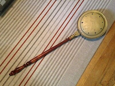 Antique Victorian Brass & Copper Turned Wood Handle Bed Warmer Hearth Primitive