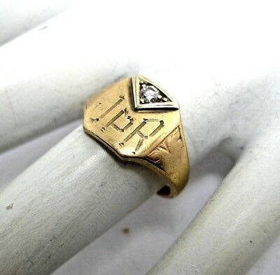 Art Deco 10K Gold Signet Ring with Small Diamond Inscribed JPR