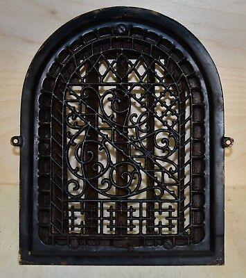 Arched Top Antique Cast Iron Heat Heating Vent Grate Patent Aug 1886