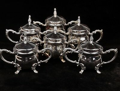 6 Silver-Plated Wine Cup Glasses British Style Elegant Coffee Cup Set Collection