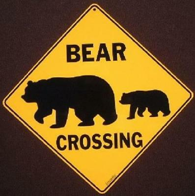 BEAR CROSSING Sign aluminum silhouette picture bears decor novelty home animals