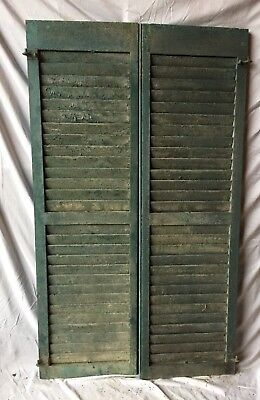 Pair Antique House Window Louvered Shutters 18X59 Shabby Vintage Chic 332-18C