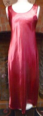 Vintage Style Claret Red Slithery High Gloss Liquid Satin Nightdress Size 16