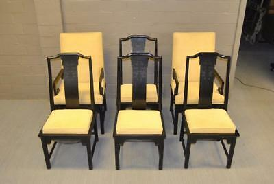 """Asian Style Black Laquer Dining Room Table And Six Chairs Burled Top 112"""""""