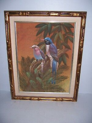 Vintage Framed Oriental Japanese Birds on Branch Painting on Canvas Signed