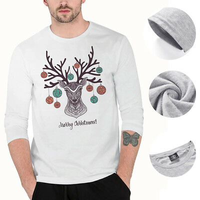 Funny Mens Printed Top Merry Christmas Slim Fit T Shirt Autumn Winter 3D