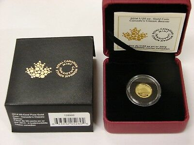 Canada 2014 1/25 oz Proof Gold 50 Cents - Classic Canadian Beaver - w/ Box & COA