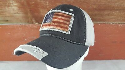 USA American Flag Hat Distressed Snapback With Faded Patch Black Gray NEW
