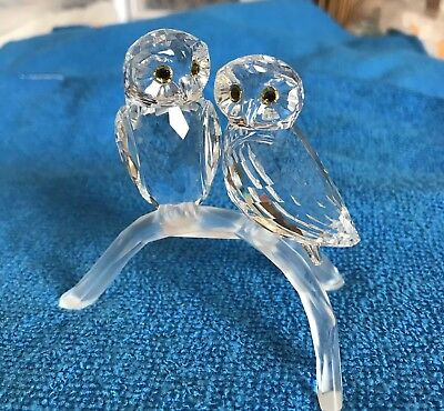 Cut Glass Crystal Owls on a Twig - Collectible Figurine ~NICE~