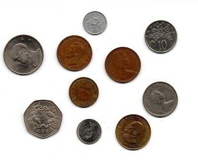 Mixed lot 10 Vintage Foreign Coins - Multiple decades & countries FREE SHIPPING!
