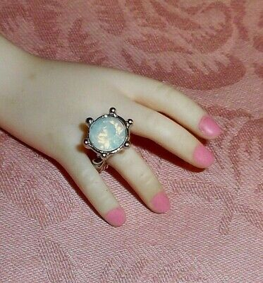 Big Opal Diamond Solitaire silv DOLL RING Fashion dolls Modeled by modern CISSY