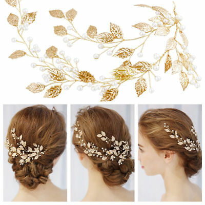 Double vine Gold Leaf wedding Bridal Bride hair accessories garland piece pearl