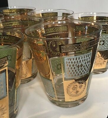 Georges Briard ~Gold and Frost~ 8 Old Fashioned Bar Glasses MCM