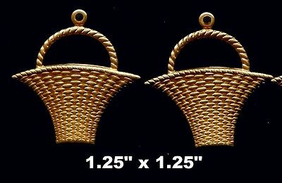 Vintage Brass Stamping Embossed  Basket -  One pair - with hanger