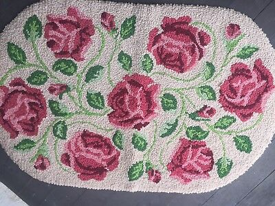 Vintage Cottage Oval Hook Rug Pink Roses Country Farmhouse Prim Handmade Sweet