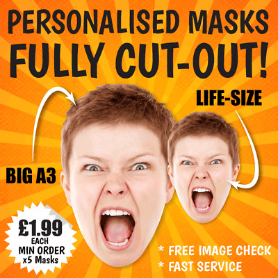 PERSONALISED FACE MASKS On STICKS BIG A3, Life-size STAG DO HEN NIGHT PARTY Card