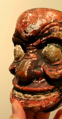ANCIENT JAPANESE NOH MASK, Hand Carved Wood, VERY OLD