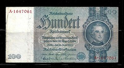 Hick Girl Stamp - Used German Banknote -100 Reichsmark-1935 Serial #: A1647061