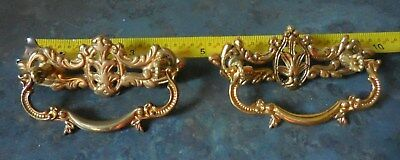 2pc Brass Cabinet Drawer Swing Bail Pull Ornate Art Nouveau French Provincial