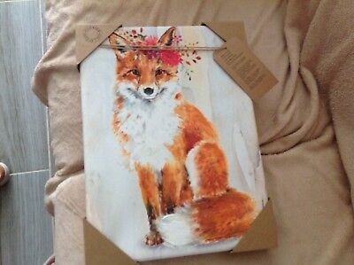 Red Fox Wall Art On Canvas With Hand Embellishments