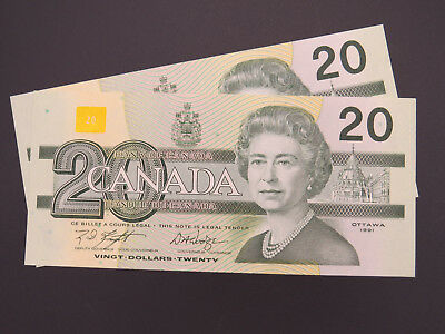 1991 $20 Dollar Bank of Canada Banknote EWM8137624/25 AU-UNC Grade (Consecutive)