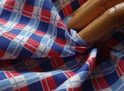 ANTIQUE 20s/30s RED/BLUE/Diminutive Plaid Cotton REMNANT 36X23/Dolls/Quilts