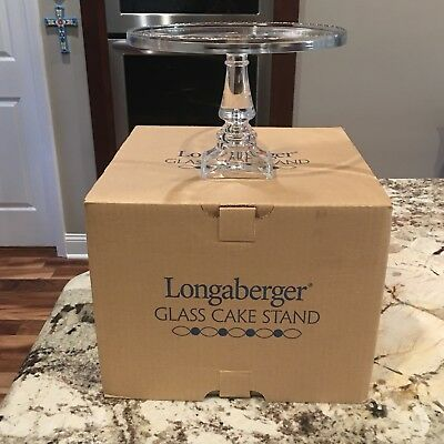 "Longaberger Handcrafted GLASS Pedestal Cake Plate New in Box 9 1/2"" diameter"