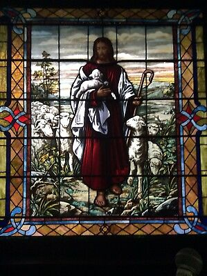 "Antique Stained Glass Religious Jesus And The Lamb Window, 65.5""x 59.75"""