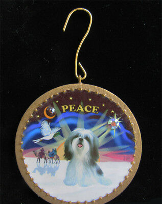 NEW ORNAMENT:  Christmas Sunrise with a Shih Tzu - by artist