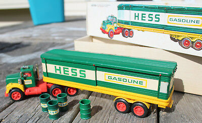 1976 Hess Toy Truck, box trailer, w/ oil barrels, and box - vintage, original