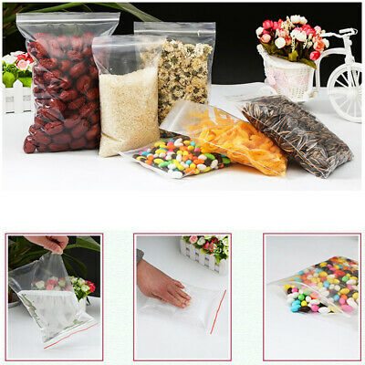 100/500pcs Grip Resealable Zip Lock Bags Self Seal Clear Plastic Poly Bag 8 Size